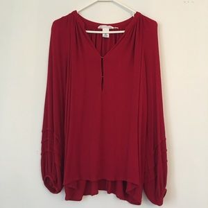 H&M Cherry Red Peasant Blouse Small